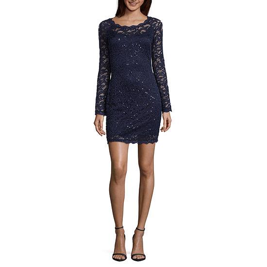 My Michelle Long Sleeve Bodycon Dress-Juniors