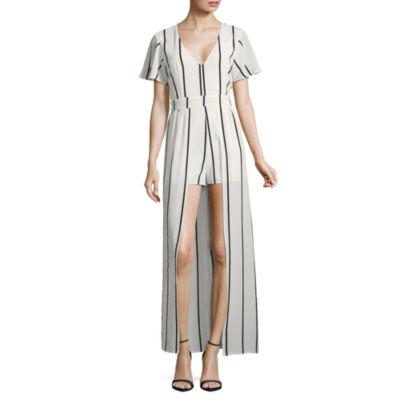 Crystal Sky Short Sleeve Stripe Maxi Dress-Juniors