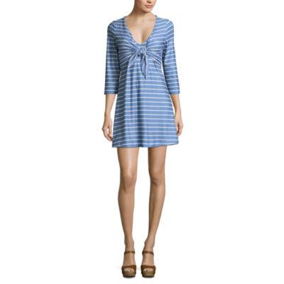 Heart N Soul 3/4 Sleeve Stripe A-Line Dress-Juniors