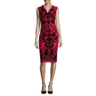 Weslee Rose Short Sleeve Flocked Dress