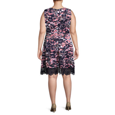 DR Collection Sleeveless Floral Fit & Flare Dress - Plus