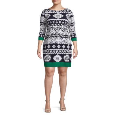 Tiana B 3/4 Sleeve Paisley Shift Dress - Plus