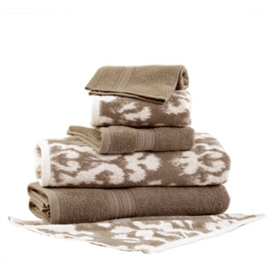 Pacific Coast Textiles Ikat Damask Yarn Dyed 6-pc. Bath Towel Set