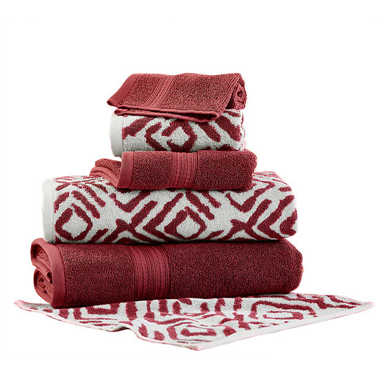 Pacific Coast Textiles Ikat Diamond Yarn Dyed 6 Pc Jacquard Bath Towel Set