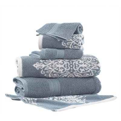Pacific Coast Textiles Artesia Damask Yarn Dyed 6-pc. Bath Towel Set