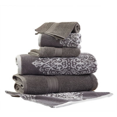 Pacific Coast Textiles Artesia Damask Yarn Dyed 6-pc. Bath Towel Set