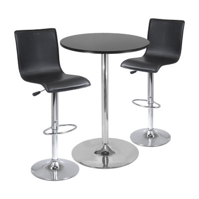 """Winsome Spectrum  3pc Pub Table Set 28"""" Round Table with 2 L-Shape Airlift Stools"""