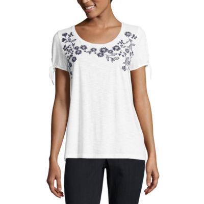 Liz Claiborne Tie Sleeve Embroidered T-Shirt-Womens