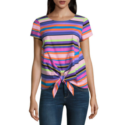 Project Runway Short Sleeve Knot Front Top