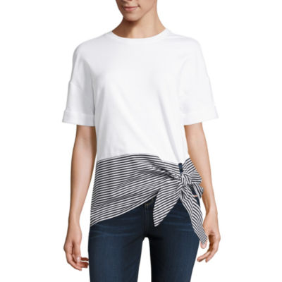 Project Runway Short Sleeve Mix Media Knot Front Top