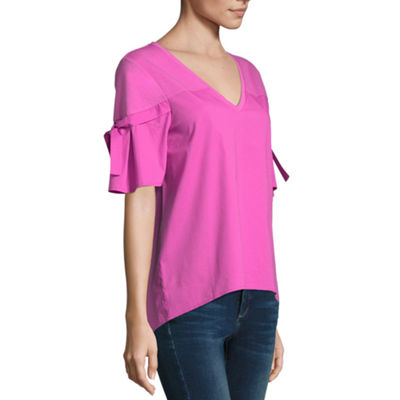 Project Runway Short Sleeve V Neck Mix Media Top