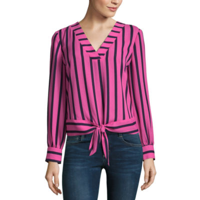 Project Runway Long Sleeve V Neck Tie Front Top