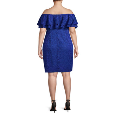 Bold Elements Off Shoulder Lace Dress - Plus