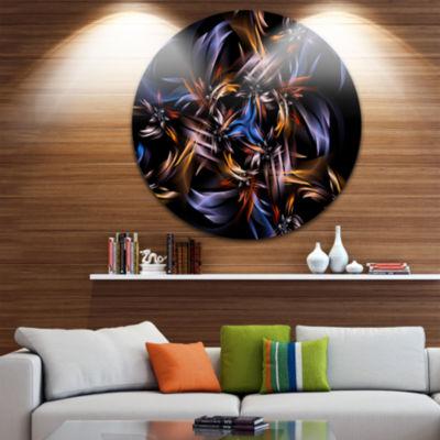 Designart Blue Fractal Light Art in Dark Contemporary Circle Metal Wall Art