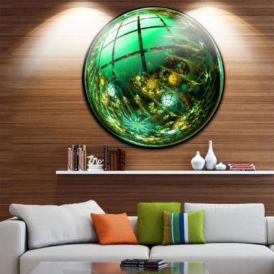 Designart Bright Green Fractal Sphere Abstract Circle Metal Wall Art