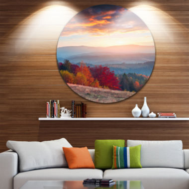 Designart Sunrise in Carpathian Mountains Landscape Photography Circle Metal Wall Art