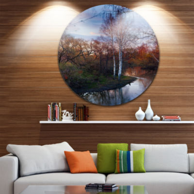 Designart Forest River in the Spring Landscape Photo Circle Metal Wall Art