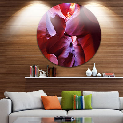 Designart Purple Rays in Antelope Canyon LandscapePhotography Circle Metal Wall Art