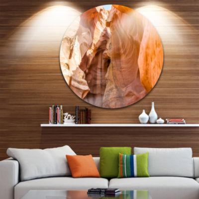 Designart Antelope Canyon Sandstone Landscape Photo Circle Metal Wall Art