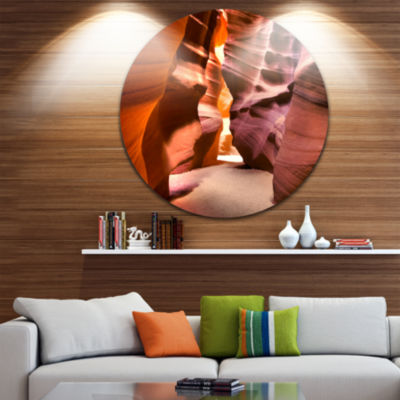 Designart Bright Antelope Canyon Landscape Photo Circle Metal Wall Art