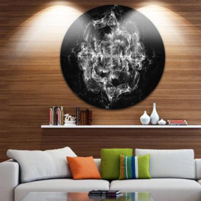 Designart Fractal Silver Flower Explosion Floral Circle Metal Wall Art