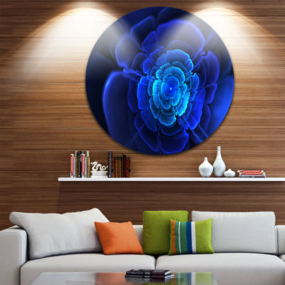 Designart Bright Blue Fractal Flower in Dark Floral Circle Metal Wall Art