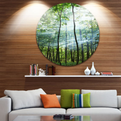 Designart Green Sunny Forest Landscape PhotographyCircle Metal Wall Art