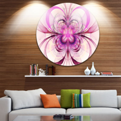 Designart Purple Fractal Flower Pattern Floral Circle Metal Wall Art
