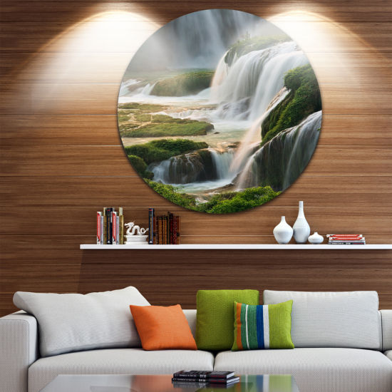 Designart Detian Waterfall Landscape Photography Circle Metal Wall Art