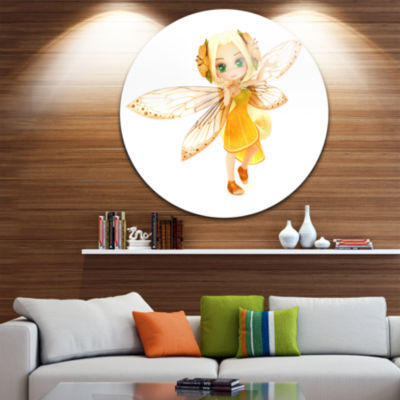 Designart Fairy Woman with Yellow Wings Floral Metal Artwork