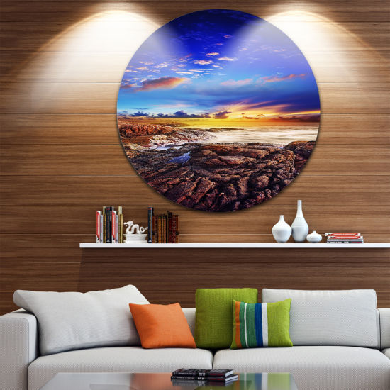 Designart Sunset Over the Ocean Seascape Photography Circle Metal Wall Art