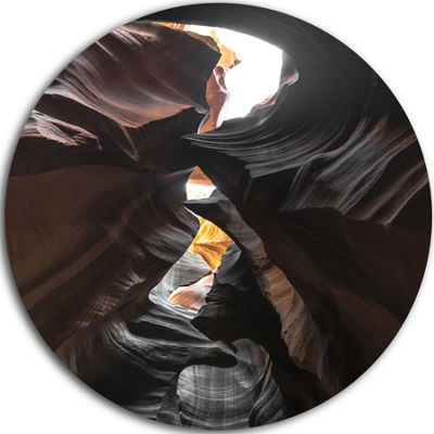 Designart Glowing Antelope Canyon Landscape PhotoCircle Metal Wall Art