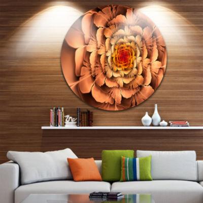Designart Dense Fractal Brown Petals Floral CircleMetal Wall Art