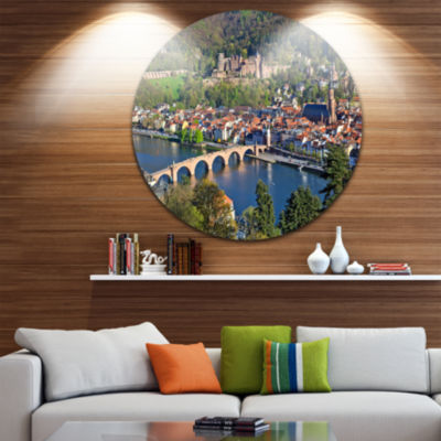 Designart Neckar River and Heidelberg Cityscape Photo Circle Metal Wall Art