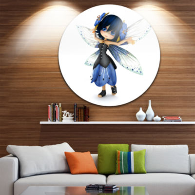 Designart Fairy Blue Woman with Wings Abstract Portrait Circle Metal Wall Art