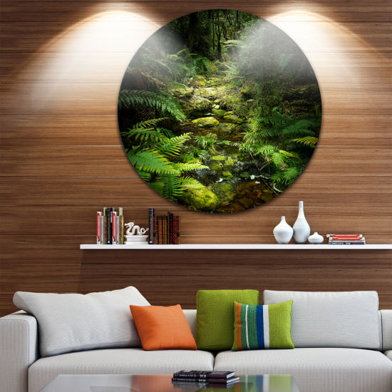 Designart Green Forest of New Zealand Landscape Photo Circle Metal Wall Art
