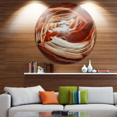 Designart Antelope Canyon Arch Landscape Photo Circle Metal Wall Art
