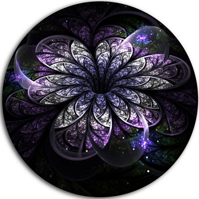 Designart Green Fractal Flower in Dark Floral Circle Metal Wall Art
