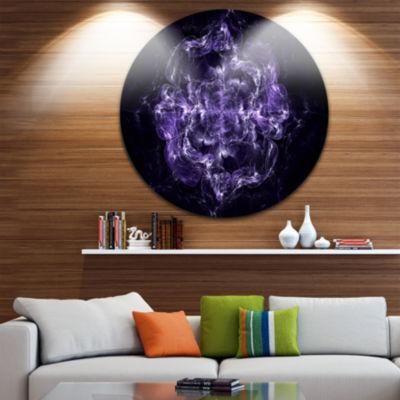 Designart Fractal Purple Flower Explosion Floral Circle Metal Wall Art