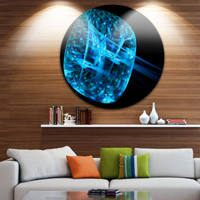 Designart Blue Fractal Cube in Dark Abstract Circle Metal Wall Art
