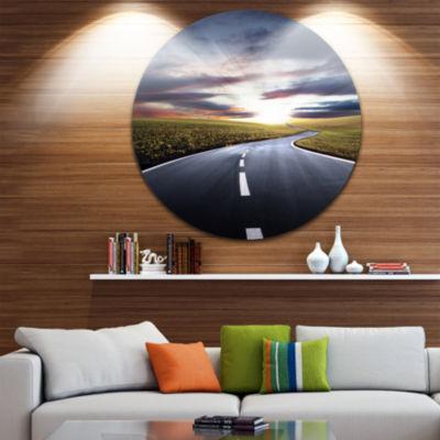 Designart Road to Hills Under Clouds Landscape Photo Circle Metal Wall Art