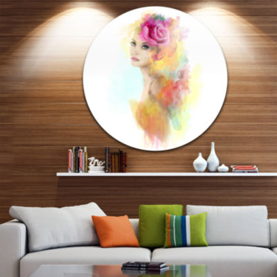 Designart Summer Woman with Flowers Floral Painting Circle Metal Wall Art