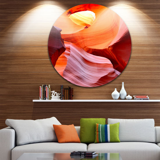 Designart Inside Upper Antelope Canyon Landscape Photography Circle Metal Wall Art