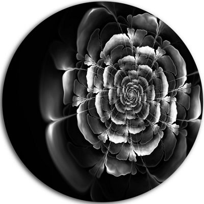 Designart Fractal Silver Rose in Dark Floral Circle Metal Wall Art