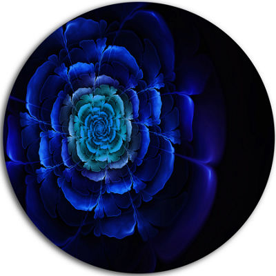 Designart Fractal Silver Blue in Dark Floral Circle Metal Wall Art