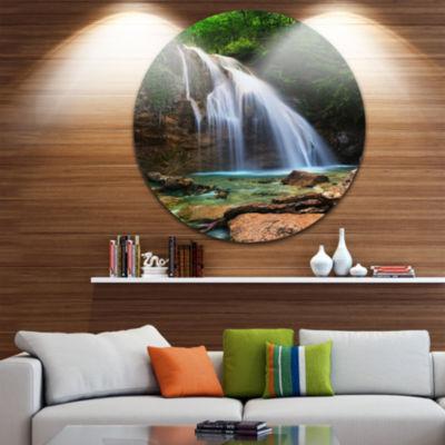 Designart Djur Djur Waterfall Landscape Photography Circle Metal Wall Art