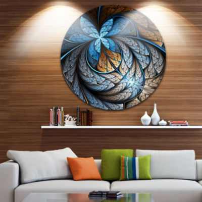 Designart Blue Brown Fractal Flower Pattern FloralCircle Metal Wall Art