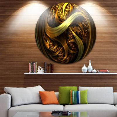 Designart Golden Fractal Sphere in Dark Abstract Circle Metal Wall Art