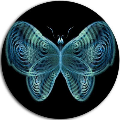 Designart Light Blue Fractal Butterfly in Dark Abstract Circle Metal Wall Art