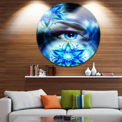 Designart Woman Eye with Fractal Flowers Floral Circle Metal Wall Art